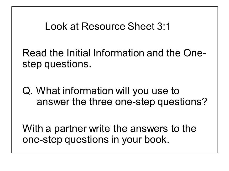 Look at Resource Sheet 3:1