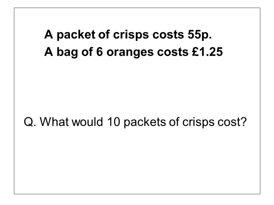 A packet of crisps costs 55p.