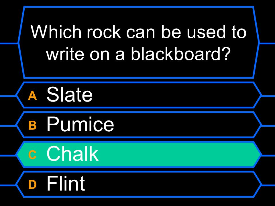 Which rock can be used to write on a blackboard
