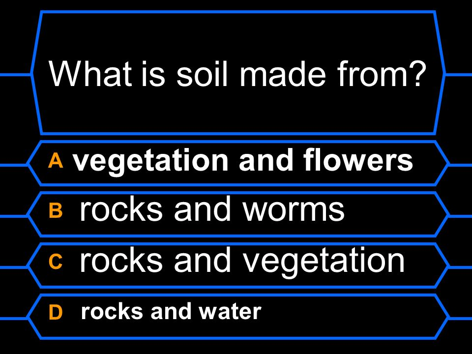 What is soil made from A vegetation and flowers B rocks and worms