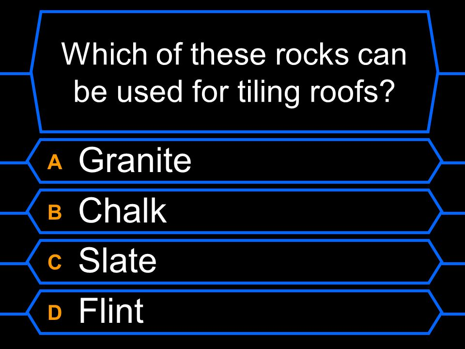 Which of these rocks can be used for tiling roofs