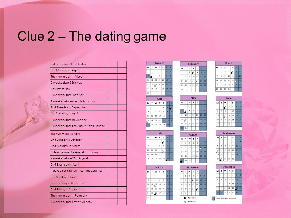 Clue 2 – The dating game 2 days before Good Friday