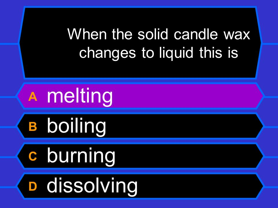 When the solid candle wax changes to liquid this is