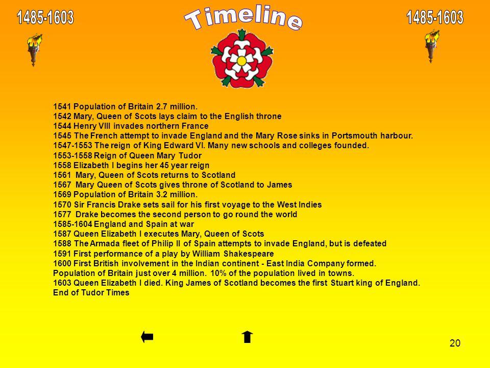 Timeline 1485-1603 1485-1603 1541 Population of Britain 2.7 million.