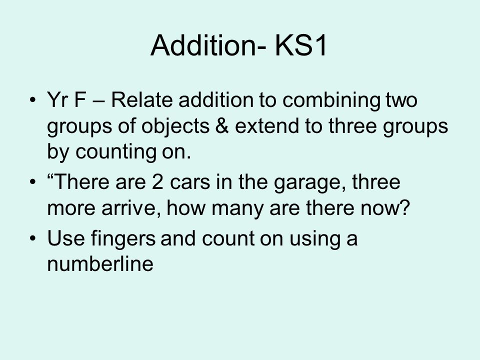 Addition- KS1 Yr F – Relate addition to combining two groups of objects & extend to three groups by counting on.