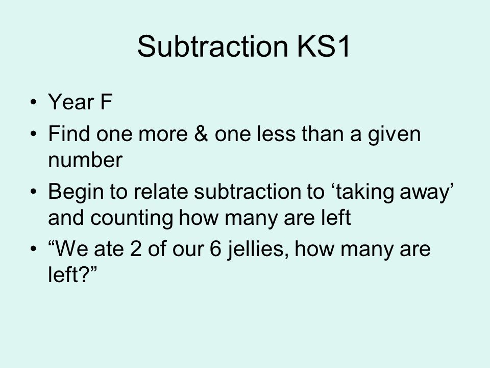 Subtraction KS1 Year F Find one more & one less than a given number