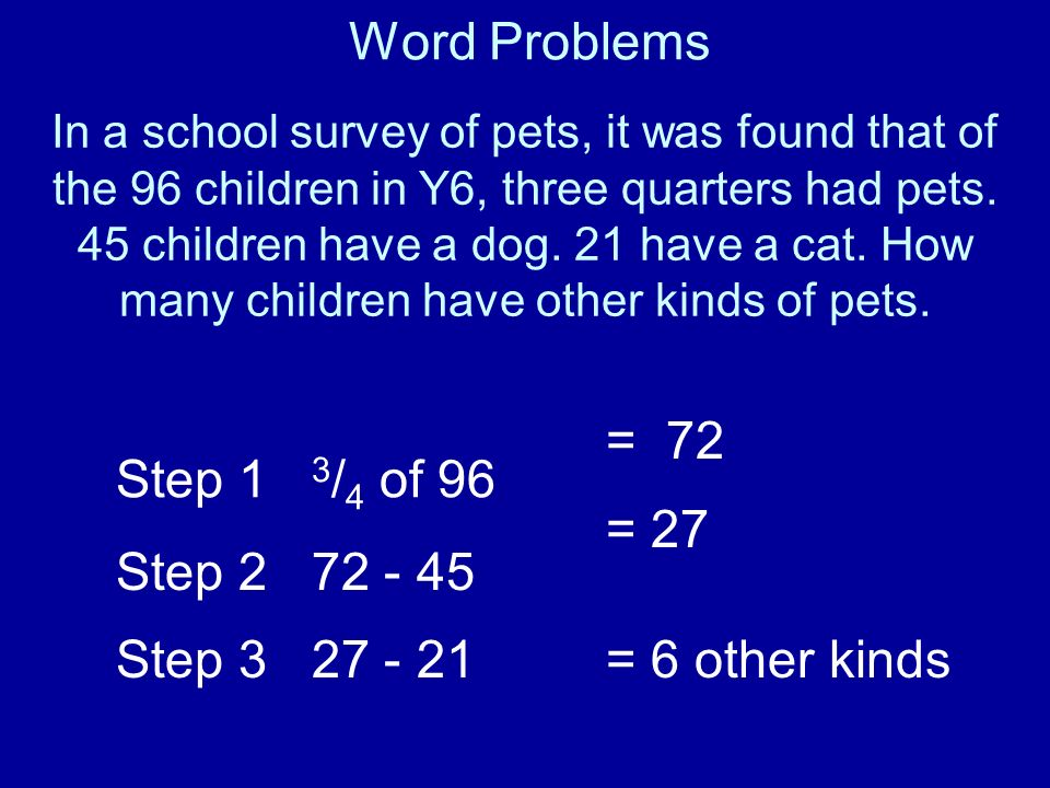 Word Problems = 72 Step 1 3/4 of 96 Step 2 72 - 45 = 27 Step 3 27 - 21