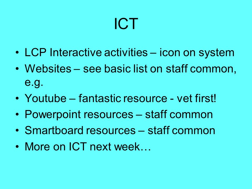 ICT LCP Interactive activities – icon on system