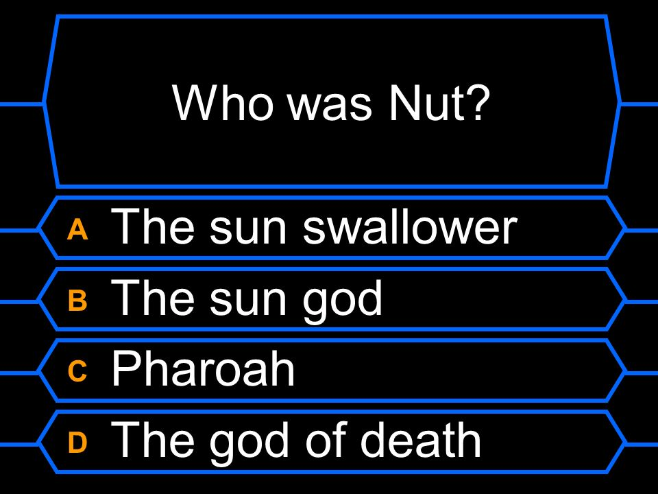 Who was Nut A The sun swallower B The sun god C Pharoah