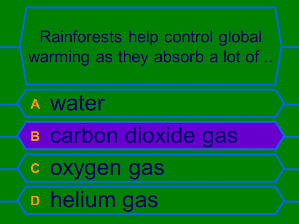 Rainforests help control global warming as they absorb a lot of ..