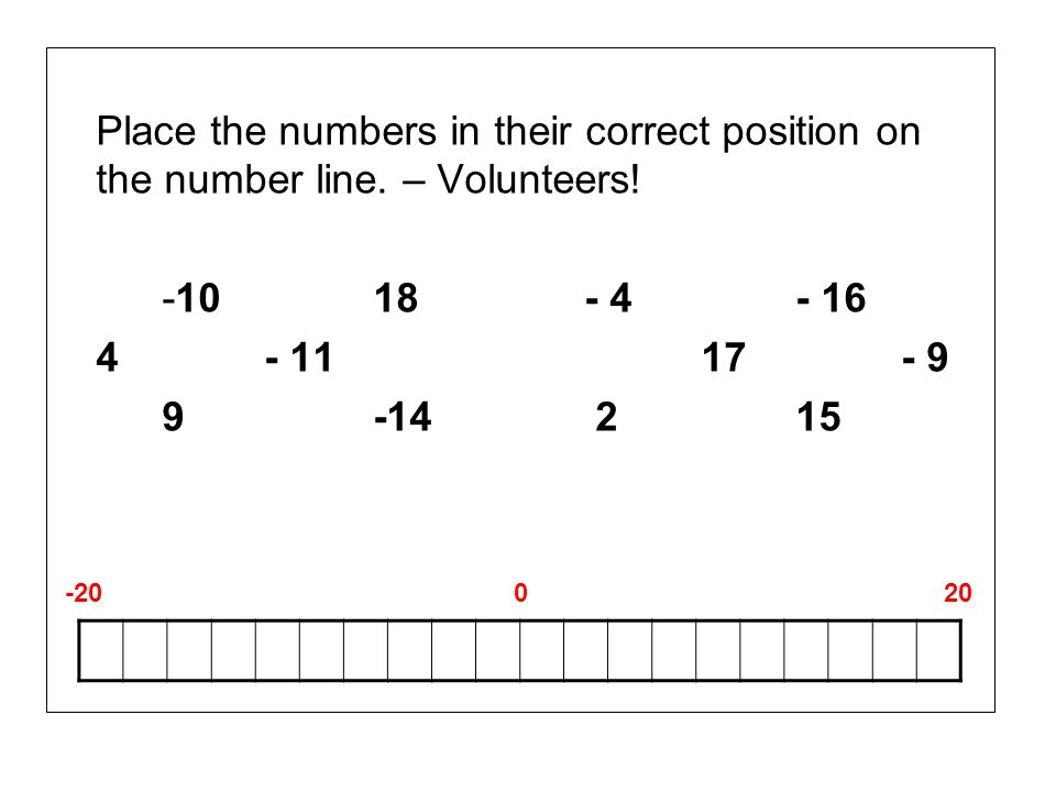 Place the numbers in their correct position on the number line