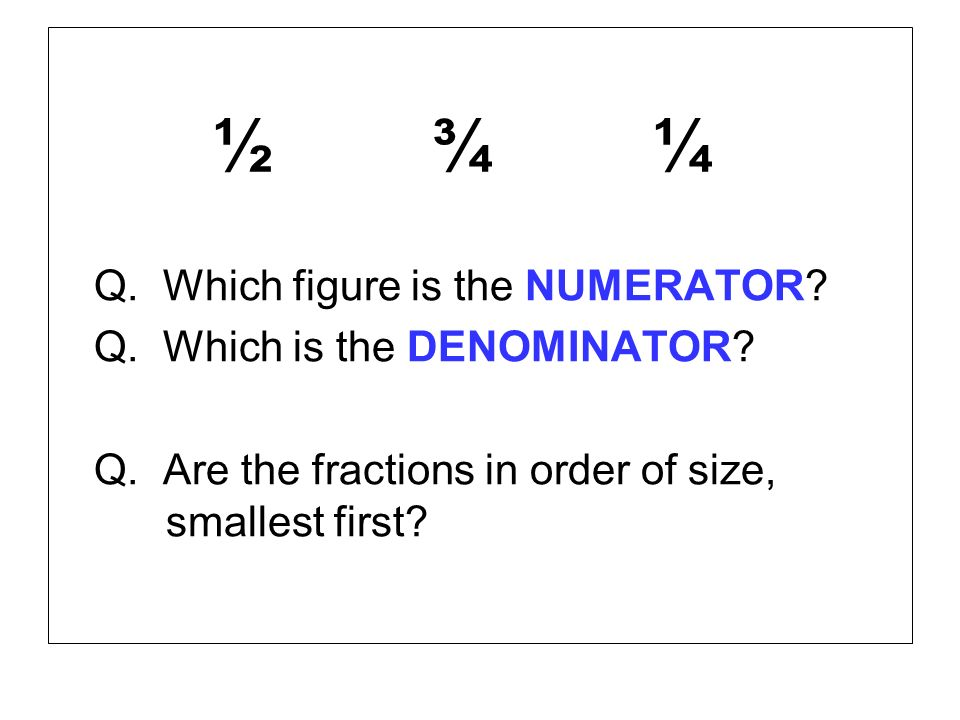 ½ ¾ ¼ Q. Which figure is the NUMERATOR.