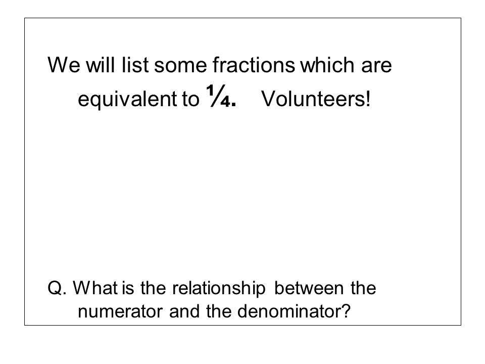 We will list some fractions which are equivalent to ¼. Volunteers!