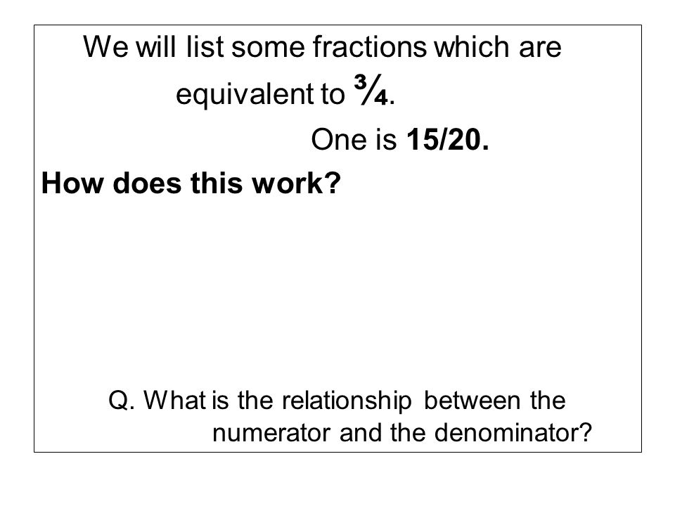 We will list some fractions which are equivalent to ¾.