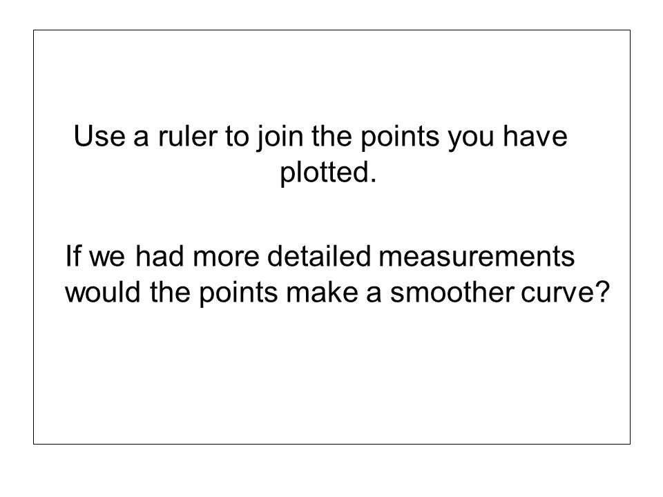 Use a ruler to join the points you have plotted.