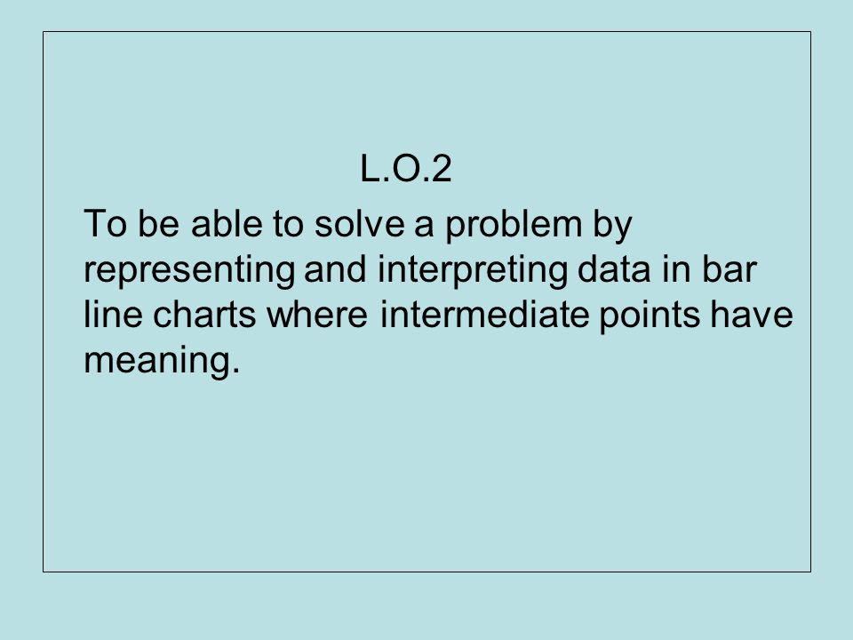 L.O.2 To be able to solve a problem by representing and interpreting data in bar line charts where intermediate points have meaning.