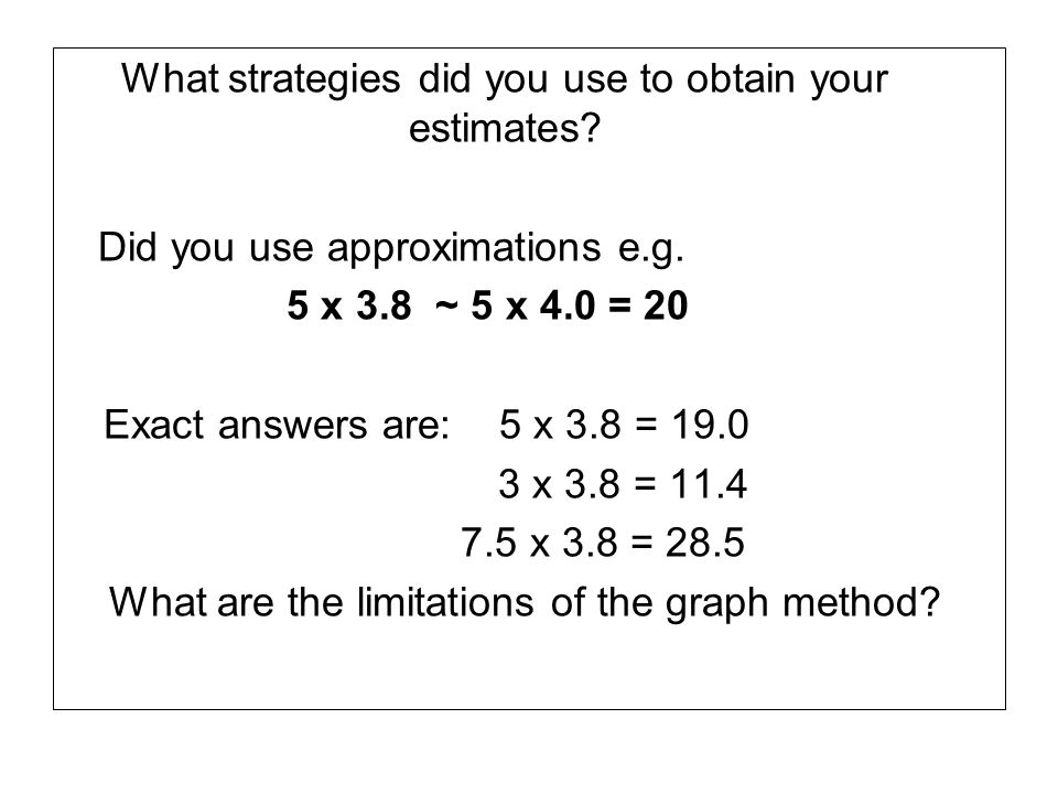 What strategies did you use to obtain your estimates