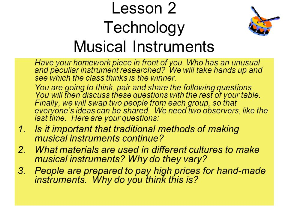 Lesson 2 Technology Musical Instruments