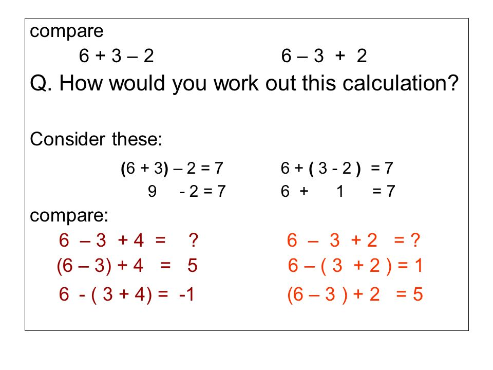 Q. How would you work out this calculation
