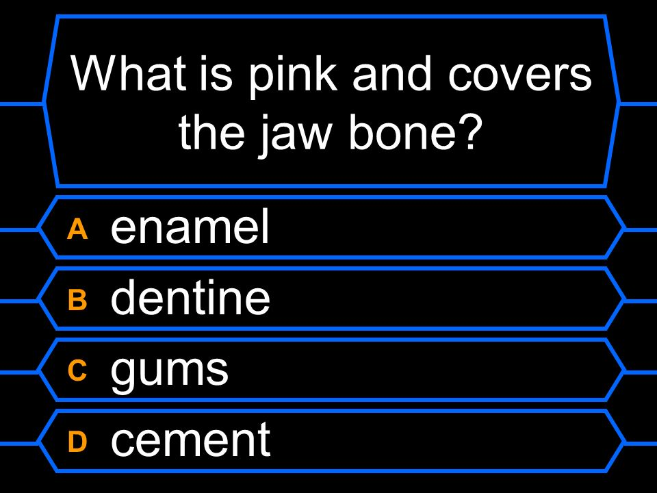 What is pink and covers the jaw bone