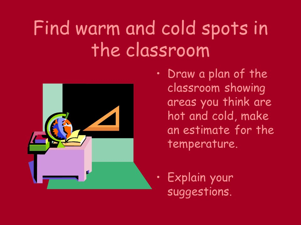 Find warm and cold spots in the classroom