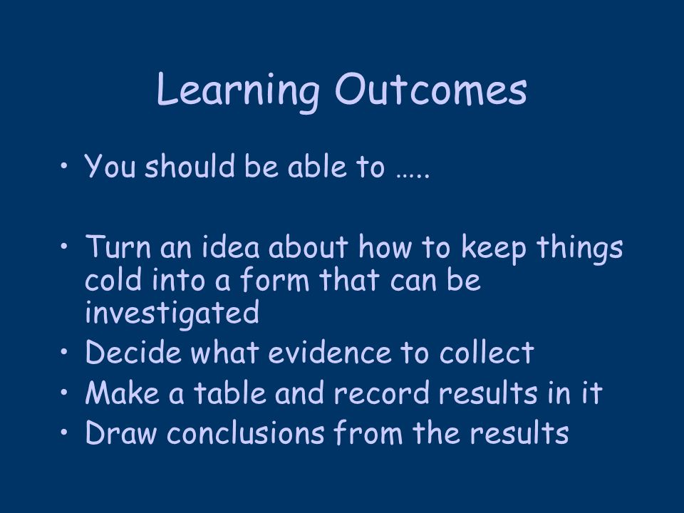 Learning Outcomes You should be able to …..