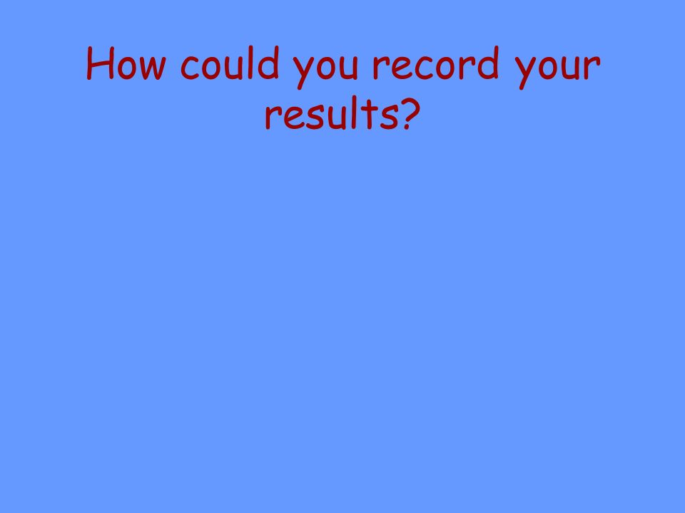 How could you record your results