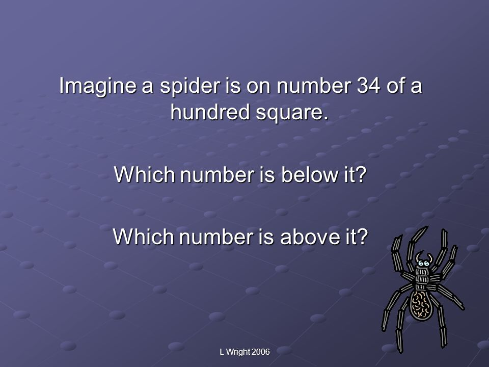 Imagine a spider is on number 34 of a hundred square.