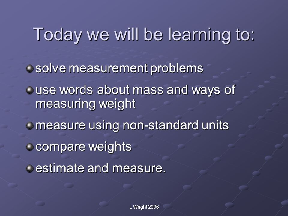 Today we will be learning to: