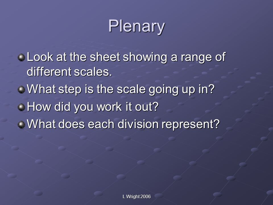 Plenary Look at the sheet showing a range of different scales.