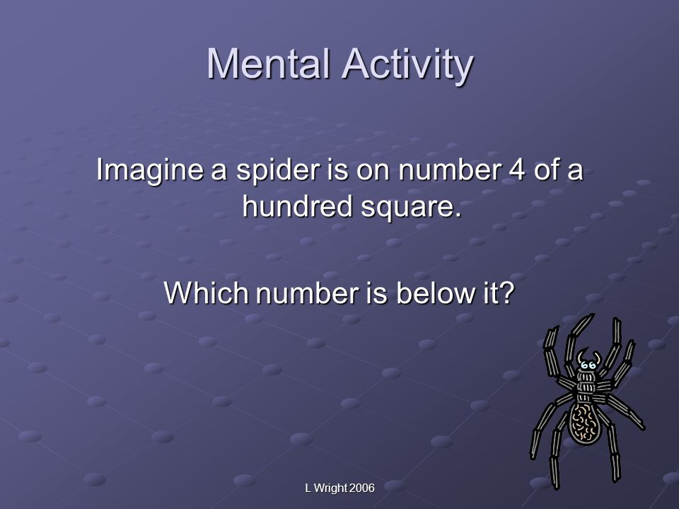 Mental Activity Imagine a spider is on number 4 of a hundred square.
