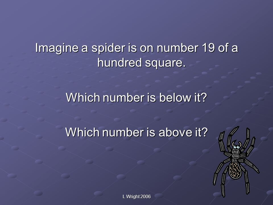 Imagine a spider is on number 19 of a hundred square.
