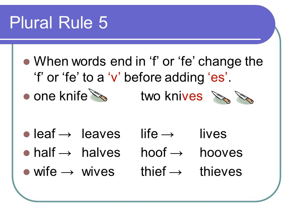 Plural Rule 5 When words end in 'f' or 'fe' change the 'f' or 'fe' to a 'v' before adding 'es'. one knife two knives.