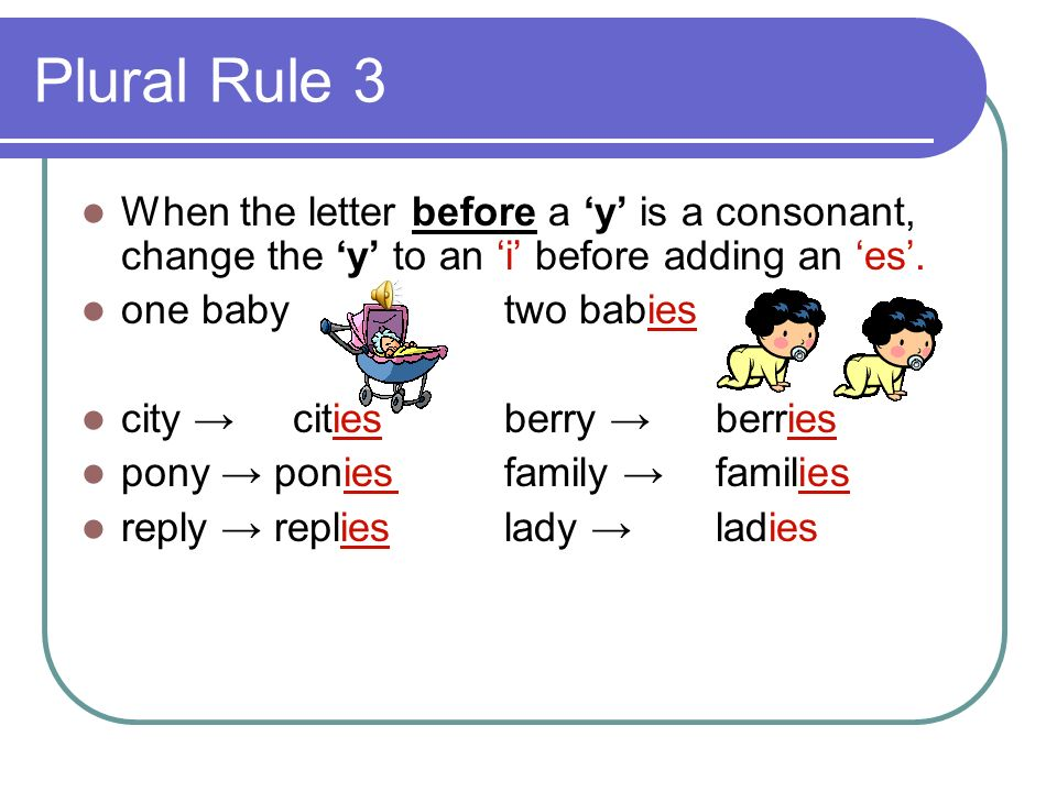 Plural Rule 3 When the letter before a 'y' is a consonant, change the 'y' to an 'i' before adding an 'es'.