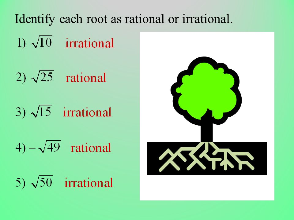 Identify each root as rational or irrational.