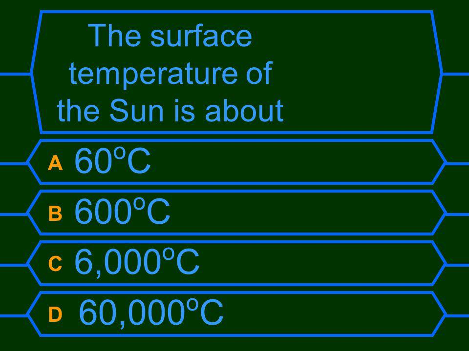 The surface temperature of the Sun is about