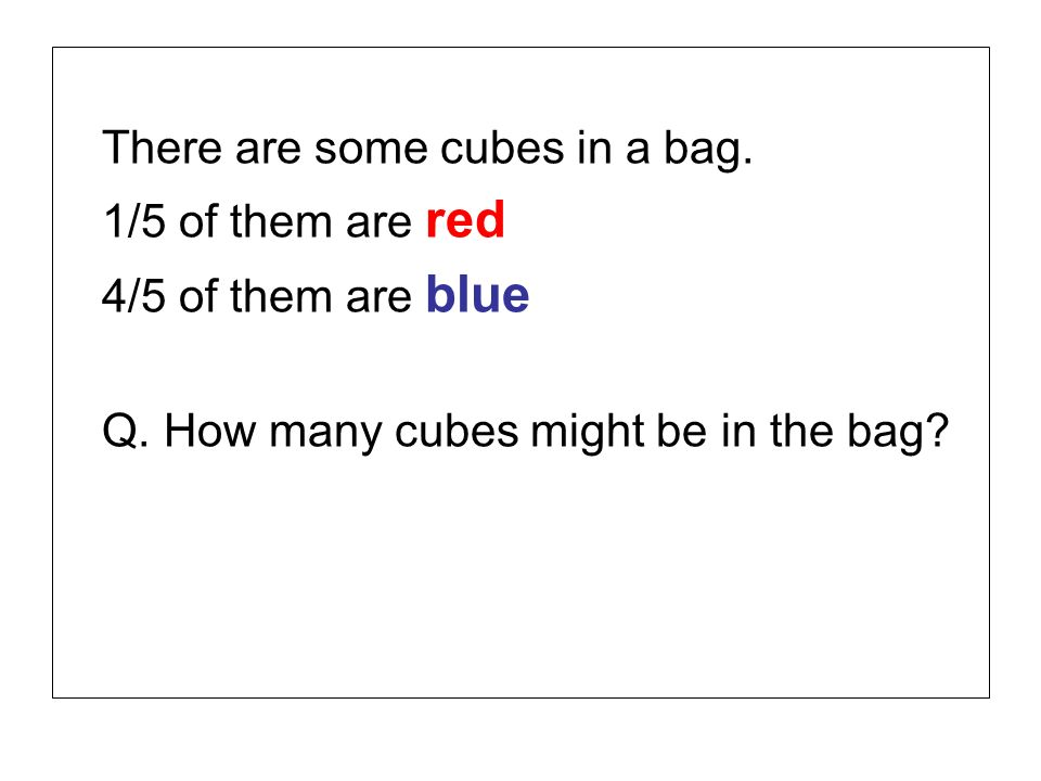 There are some cubes in a bag.