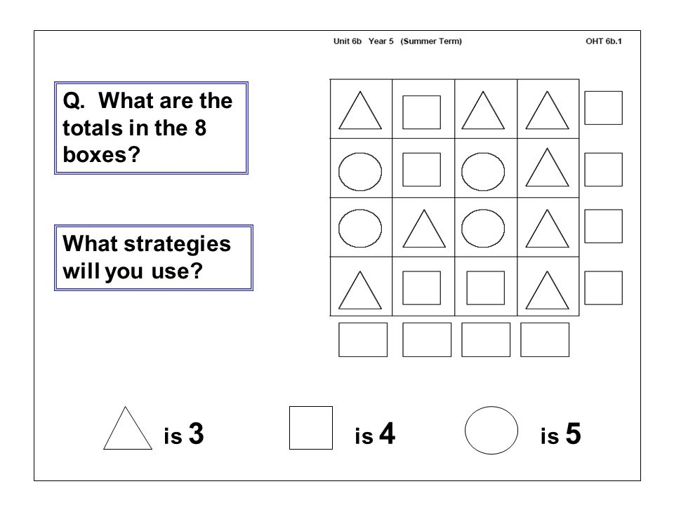 Q. What are the totals in the 8 boxes