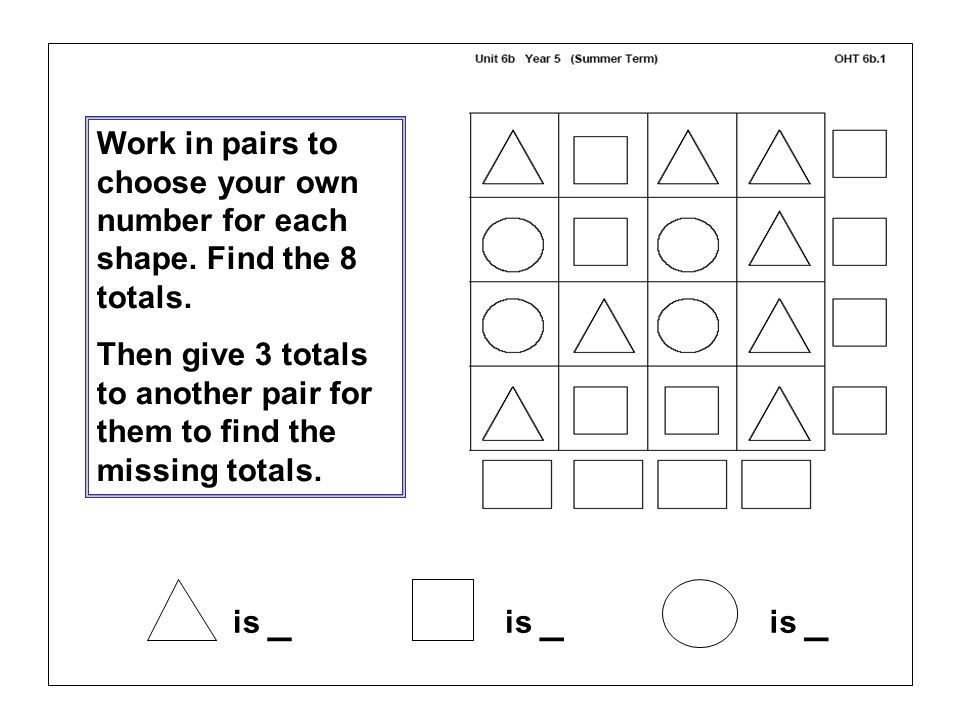 Work in pairs to choose your own number for each shape