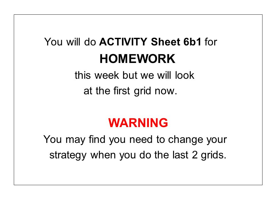 You will do ACTIVITY Sheet 6b1 for