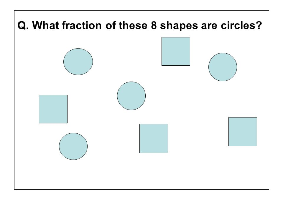 . Q. What fraction of these 8 shapes are circles