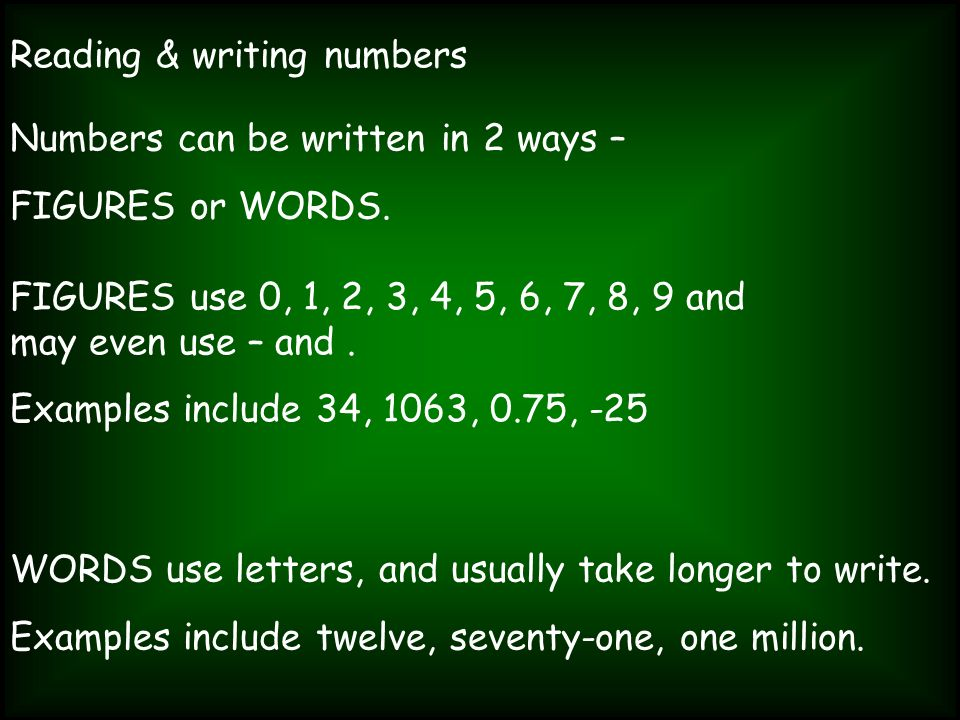 Reading & writing numbers