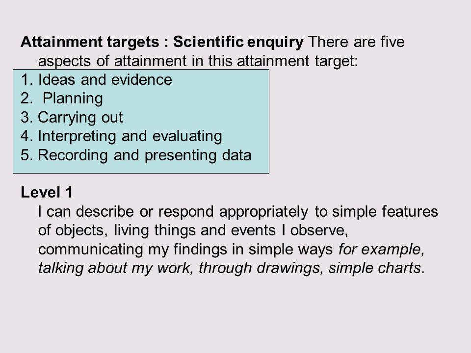 Attainment targets : Scientific enquiry There are five aspects of attainment in this attainment target:
