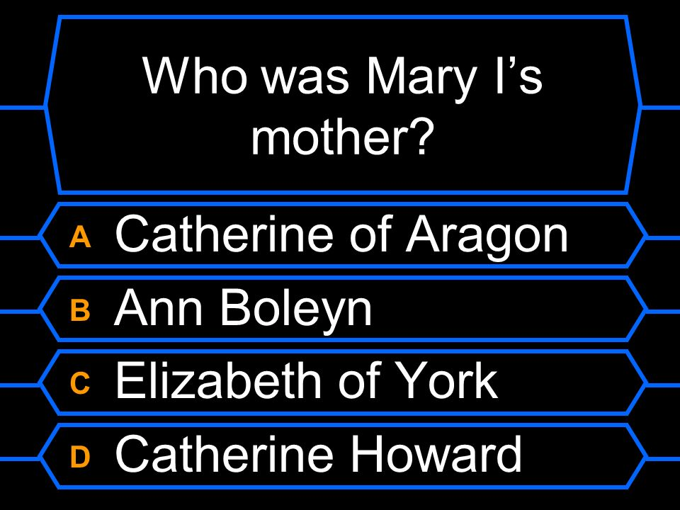 Who was Mary I's mother A Catherine of Aragon B Ann Boleyn