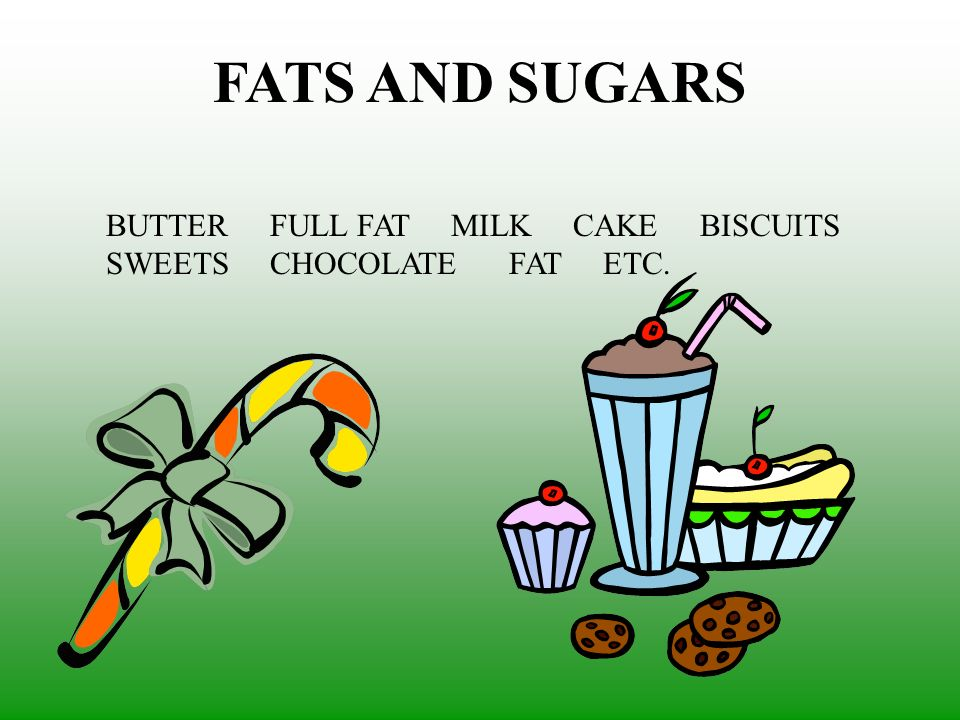 FATS AND SUGARS BUTTER FULL FAT MILK CAKE BISCUITS SWEETS CHOCOLATE FAT ETC.