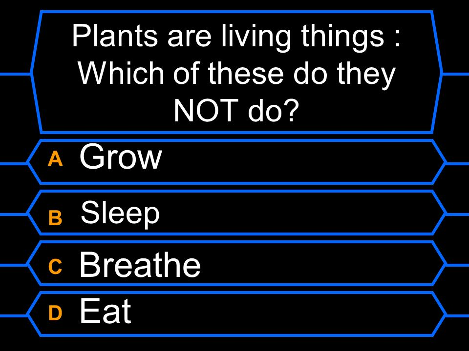 Plants are living things : Which of these do they NOT do
