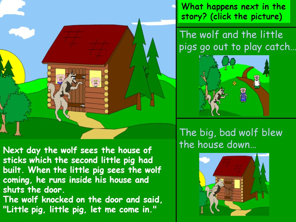 The wolf and the little pigs go out to play catch…