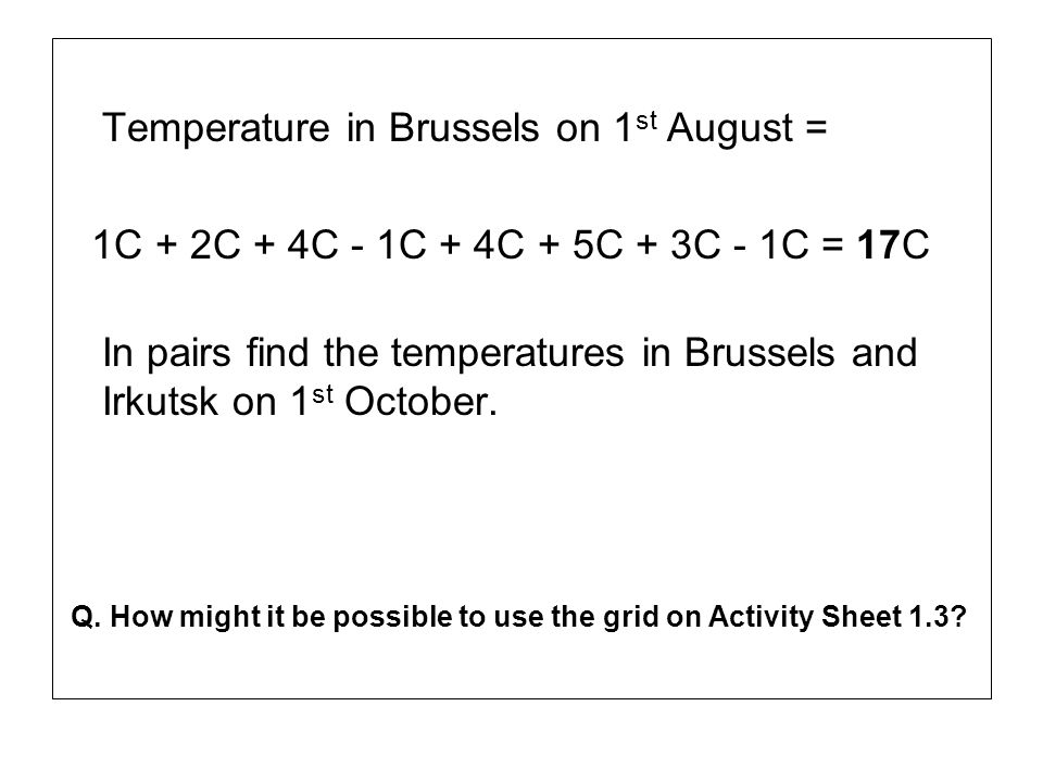 Temperature in Brussels on 1st August =