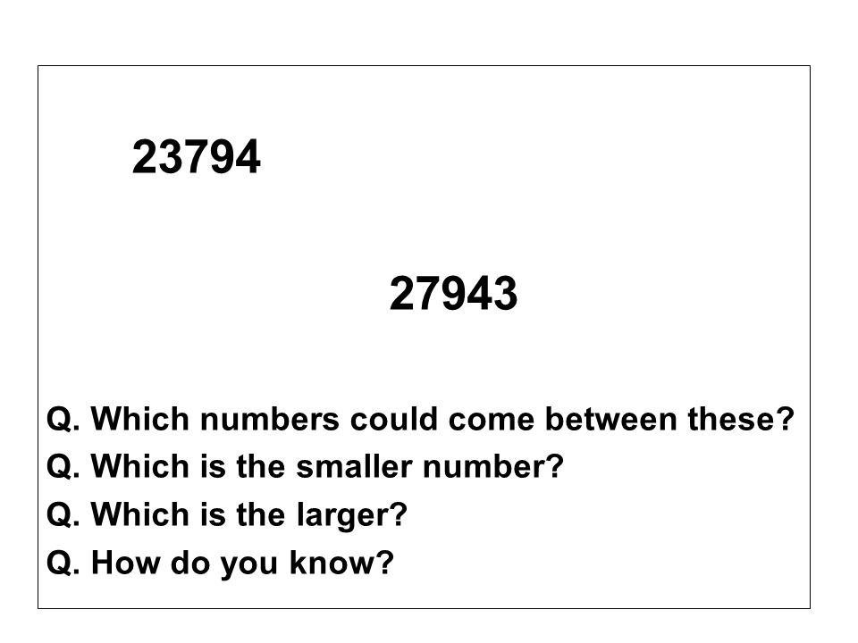 27943 23794 Q. Which numbers could come between these