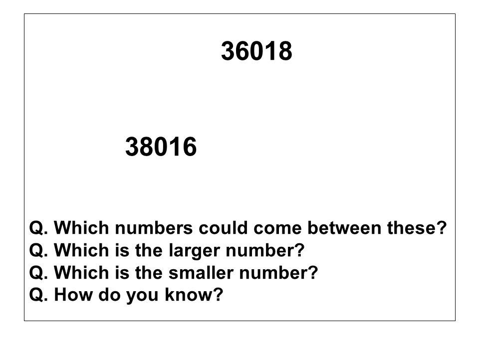 38016 36018 Q. Which numbers could come between these